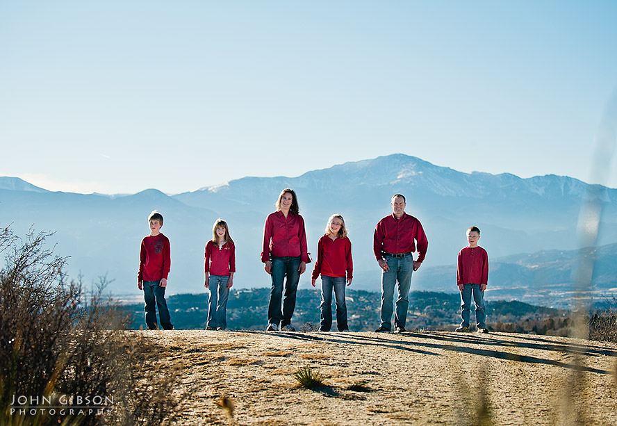 Family portrait with Pikes Peak in the background