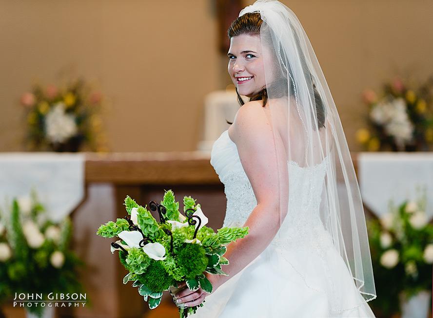 Beautiful bride at the altar