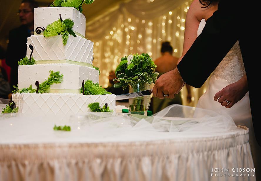 Jessica + Juan cut the wedding cake