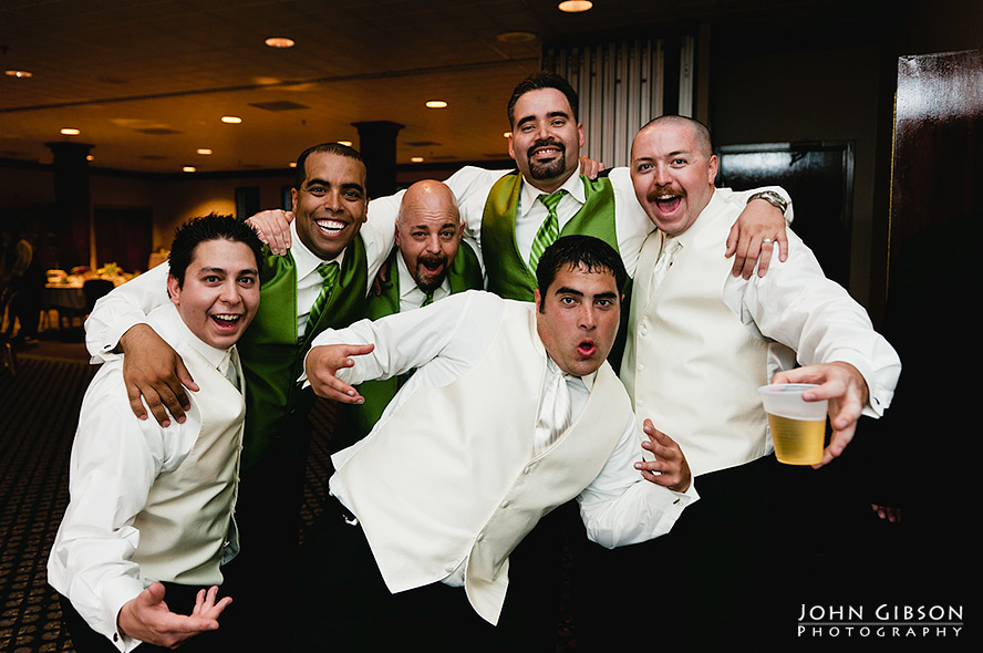 A happy groom and his groomsmen