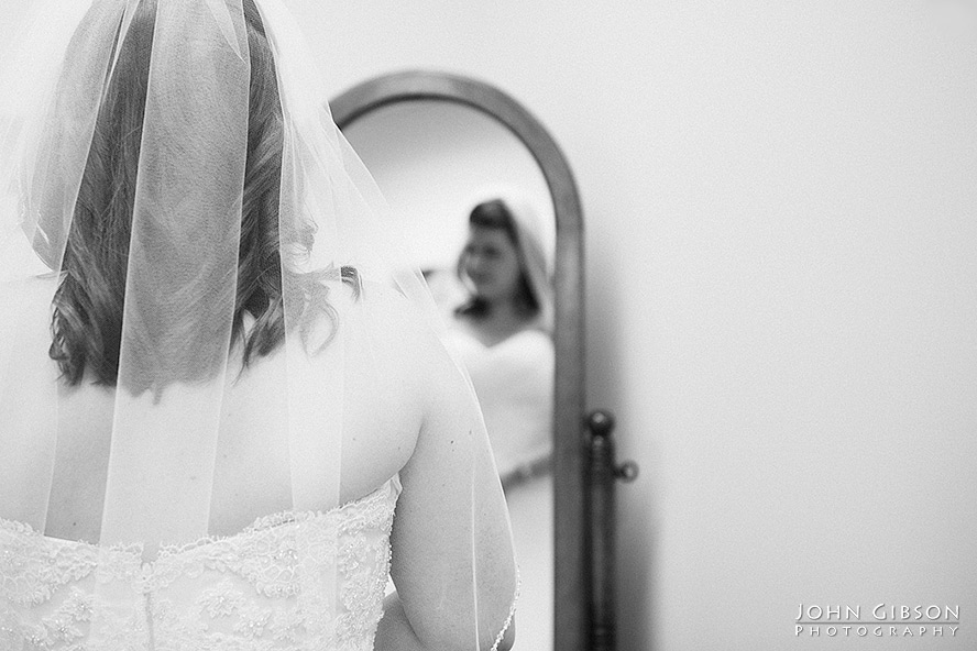The bride's reflection