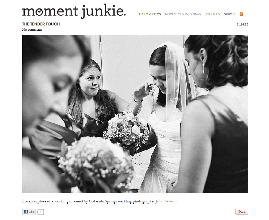 Colorado Springs wedding photographers featured on Moment Junkie