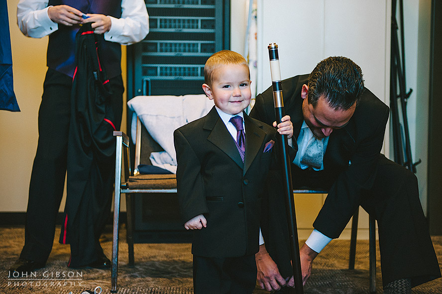 The ring bearer smiles