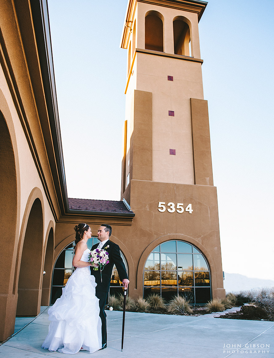 The newlyweds at the bell tower