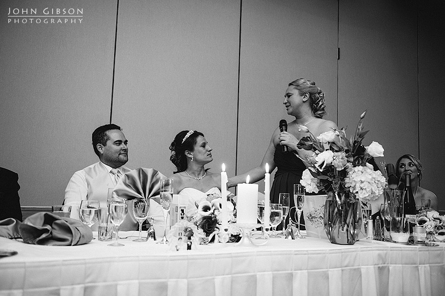 The matron of honor toasts the couple