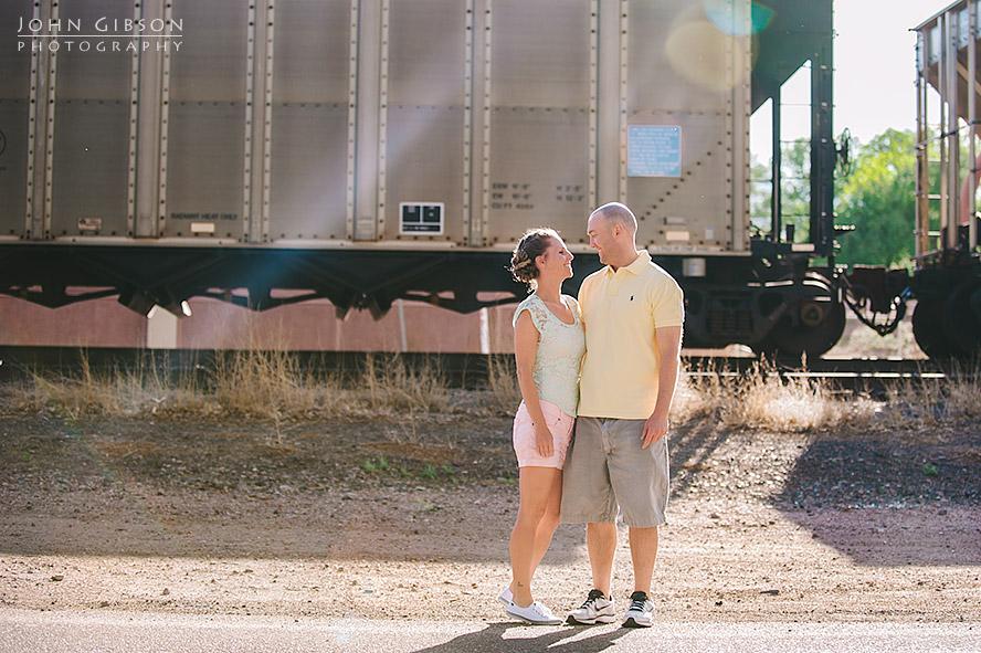 Lori & Jon and a passing train